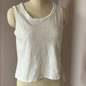 On twelfth white tank holes distressed cropped S